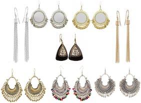 Urbanela Combo of 8 Bohemian Style Fancy Party Wear Oxidized Silver Tribal Collection Chandbali and Dangler Earrings : 8URECM03