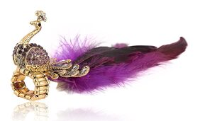 Urbanela Designer Peacock Feather Adjustable Ring for Girls and Women : ADPR01-PURPLE