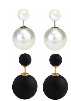 Urbanela Designer Pearl Type Earring Black And White Combo Set of 2 Fashion Jewellery ADEC201