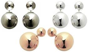 Urbanela Designer Pearl Type Earring Black,White and Golden  Combo Set of 3 Fashion Jewellery ADEC301