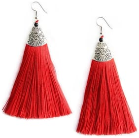 Urbanela Fashion Lightweight Dangler Thread Hook Tassel Earrings for Girls and Women : ADTE01-RED