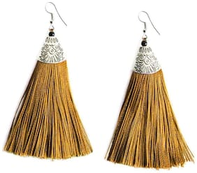 Urbanela Fashion Lightweight Dangler Thread Hook Tassel Earrings for Girls and Women : ADTE01-YELLOW