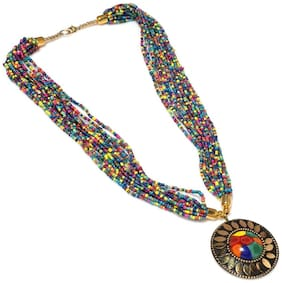 Urbanela Funky Beads Tribal Design Handcrafted Resin Necklace for Girls & Women : Fashion Jewellery : ADLBN02-MULTI