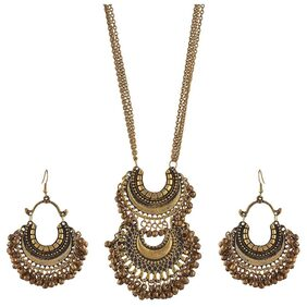 Urbanela German Silver Gypsy look Necklace : Afgani Necklace AFGN-EN101-GOLD