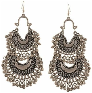Urbanela German silver chandbali earrings ADER06