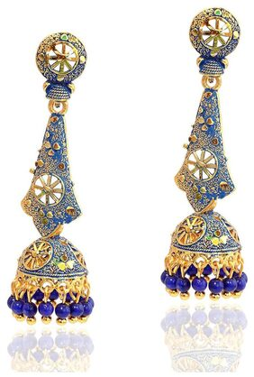 Urbanela Golden Alloy Designer Jhumki Earring : ADJ11-BLUE