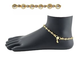 Urbanela golden anklet studded with stone