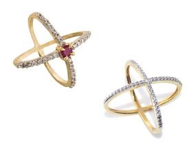 Urbanela Gold Plated American Diamond Ring combo of Two Rings For Women & Girls : ADR206