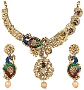 Urbanela Gold Plated Latest Design Meenakari Necklace With Earrings : Bridal Jewellery ADUN108