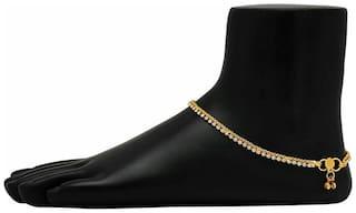 Urbanela golden layer anklet studded with stone  Designer payal
