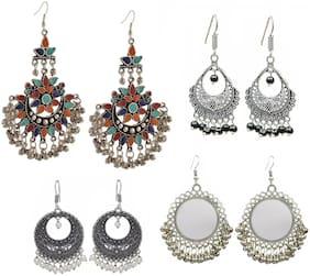 Urbanela Gypsy look Oxidised German Silver Chandbali Afghani Earring Antique Boho Jewellery : ADGSE403