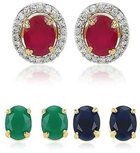 620048905866 Urbanela Interchangeable Fine Quality American Diamond Stud Earrings Combo  of 3 Pairs   ADEC307-ROUND