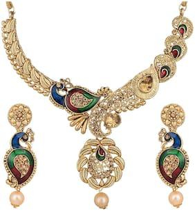 Urbanela Latest Design Stylish Kundan and Pearl Wedding Party Wear Traditional Necklace Jewellery Set for Women : ADUN108