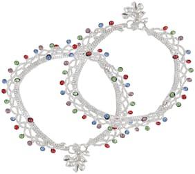 Urbanela Latest design Stone studded Stylish Designer Silver Plated Payal, Designer Bridal Anklet  URANK-1029