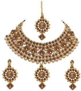 Urbanela Latest Design Stylish Kundan and Pearl Wedding Party Wear Traditional Necklace Jewellery Set for Women : ADGB02-GOLD