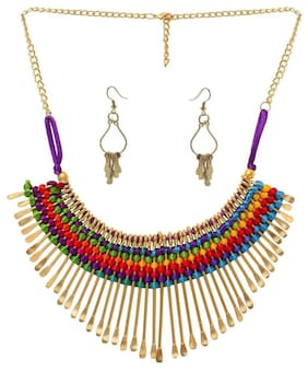 Urbanela Multicolor alloy necklace and earring set for girls