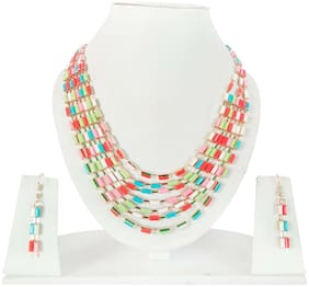 Urbanela Multi layer designer Necklace With Earrings : Fashion Jewellery ADUN109-MULTI
