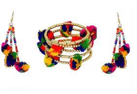 Urbanela Navratri Special Pom Pom Earring And Braclet Combo Fashion Jewellery ADUEBC105