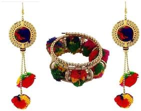 Urbanela Navratri Special Pom Pom Earring And Braclet Combo Fashion Jewellery ADUEBC110