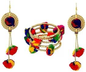 Urbanela Navratri Special Pom Pom Earring And Braclet Combo Fashion Jewellery ADUEBC104