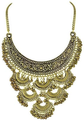 Urbanela Oxidized German Silver Gypsy look Tribal Antique Boho Afgani necklace : Fashion Jewellery : URAFGN106-GOLD