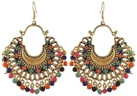 Urbanela oxidized silver Afgani Tribal Dangler Hook Chandbali earring : ADGSE05-MULTI