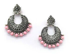 Urbanela oxidized silver Afgani Tribal Dangler Hook Chandbali earring : ADGSE02-SILVER-PINK