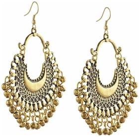 Urbanela oxidized silver Afgani tribal dangler hook earrings ADGSE05-GOLD