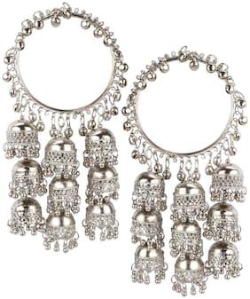 Urbanela Oxidized Silver Alloy Afghani Jhumka Bangle Set, stranded size BOHO Bangles for Women Set of 2 : URBAN104-SILVER