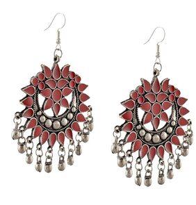 Urbanela oxidized silver Afgani Tribal Dangler Hook Chandbali earring : ADGSE06-SILVER-RED