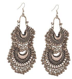 Urbanela oxidized silver Afgani Tribal Dangler Hook Chandbali earring : ADGSE07-SILVER