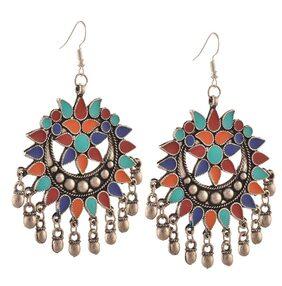 Urbanela oxidized silver Afgani Tribal Dangler Hook Chandbali earring : ADGSE06-SILVER-MULTI