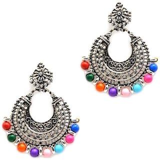 Urbanela oxidized silver Afgani Tribal Dangler Hook Chandbali earring : ADGSE02-SILVER-MULTIBEADS