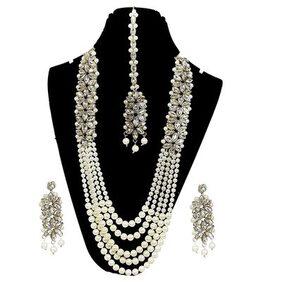 Urbanela Party Wear Kundan studded pearl Necklace Set with Maang Tikka Earrings for Women : Bridal Jewellery : ADUN111-WHITE