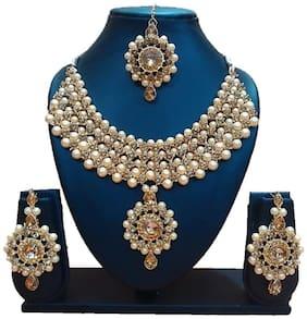 Urbanela Party Wear Crystal Choker Traditional Jewellery Necklace Set with Maang Tikka Earrings for Women : Bridal Jewellery ADGB06-GOLDEN