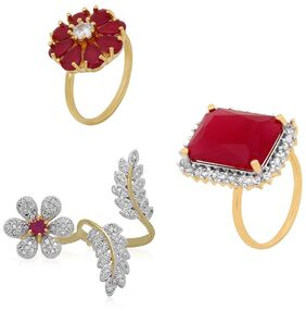 Urbanela Party Wear Premium American Diamond Gold Plated Ring Set of 3 Jewellery for Women & Girls : ADR306