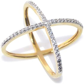 Urbanela Party Wear Premium American Diamond Gold Plated Ring Jewellery for Women & Girls : ADR39-WHITE