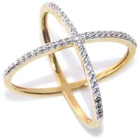 Urbanela Party Wear Premium American Diamond Gold Plated Ring Jewellery for Women & Girls : ADR39-WHITE