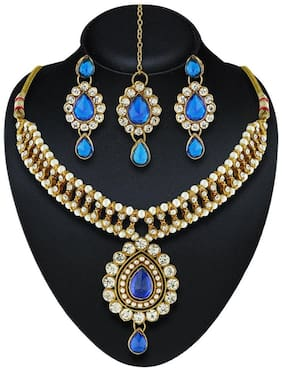 Urbanela Party Wear Crystal Choker Traditional Jewellery Necklace Set with Maang Tikka Earrings for Women : Bridal Jewellery : ADGB05-BLUE