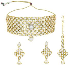 Urbanela Party Wear Crystal Choker Traditional Jewellery Necklace Set with Maang Tikka Earrings for Women : Bridal Jewellery : URGB27-WHITE