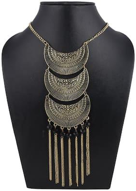 Urbanela Party Wear Garba Dandia Special Navratri Tribal Jewellery  Necklace Set for GirlsULBN03-BLACK
