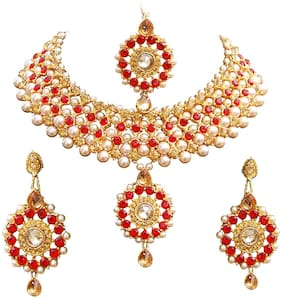 Urbanela Party Wear Crystal Choker Traditional Jewellery Necklace Set with Maang Tikka Earrings for Women : Bridal Jewellery : ADGB06-GOLDENRED