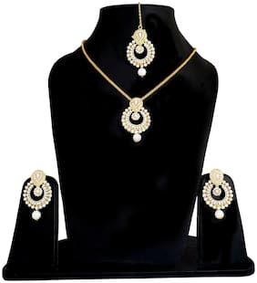 Urbanela White Brass Festive Wear Layered Chain with pendant