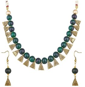 Urbanela Party Wear Antique Design Multicolor Pearl Necklace Set with Earrings for Women  : URGB42-DARKGREEN