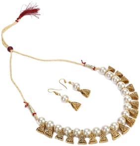 Urbanela Party Wear Garba Dandia Special Navratri Jewellery Pearl Necklace Set with Earrings for Girls UNGB42-WHITE