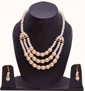 Urbanela Pearl Jewel Set White Beads Necklace and Earring set (ADUBW-3)