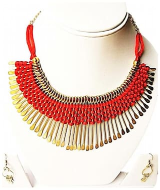 Urbanela Red alloy necklace and earring set for girls (Pack Of 5)