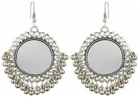 Urbanela round mirror oxidized silver Afgani earring ADER12-ROUND