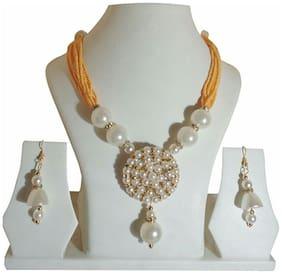 Urbanela Royal look Moti Mala necklace set with earrings : MML01-Golden