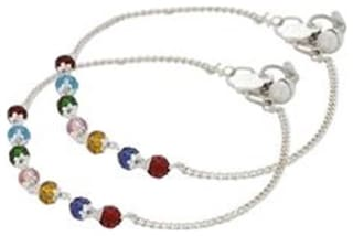 Urbanela Silver Toned Anklets Studded With Multicolor Beads